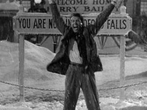 George Bailey (Jimmy Stewart) in last act of It's a Wonderful Life