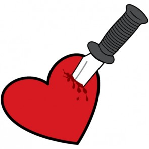 Cartoon of a Heart with a knife stuck in it